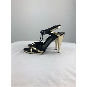 Gucci Black & Gold T Strap Heels 202932 9.5 B